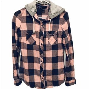 Polly&Esther Flannel w/ hood Button Up Pink&Gray